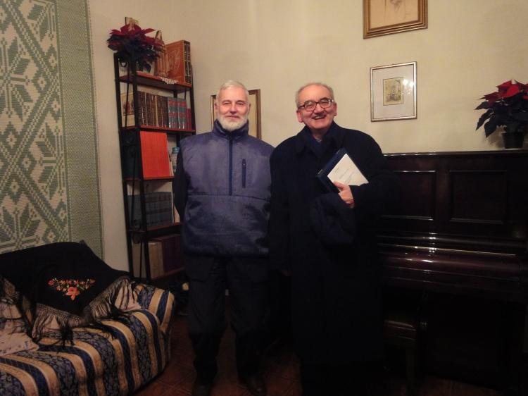 Prof. Giacomo Baroffio, storico della Liturgia e Mons. Franco Buzzi, Prefetto della Biblioteca Ambrosiana di Milano in casa Allori (22 novembre 2011)