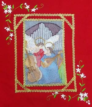 Lo stendardo di santa Cecilia realizzato da Roberta Argiolas per Casa Allori